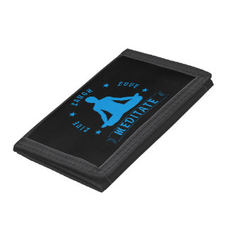 Live Laugh Love Meditate Male Text (blue) Trifold Wallet