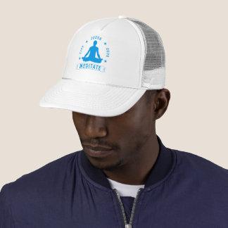 Live Laugh Love Meditate Male Text (blue) Trucker Hat