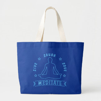 Live Laugh Love Meditate Male Text (neon) Large Tote Bag