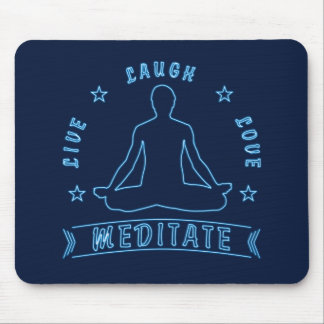 Live Laugh Love Meditate Male Text (neon) Mouse Pad
