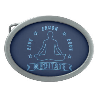 Live Laugh Love Meditate Male Text (neon) Oval Belt Buckle