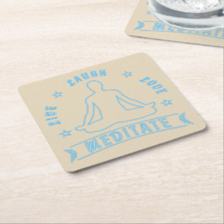 Live Laugh Love Meditate Male Text (neon) Square Paper Coaster