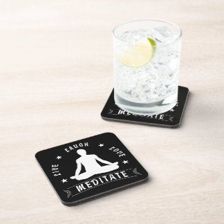 Live Laugh Love Meditate Male Text (wht) Coaster