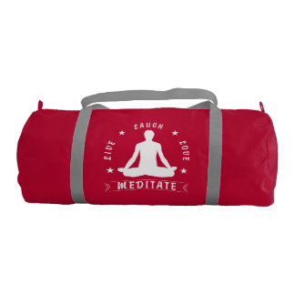 Live Laugh Love Meditate Male Text (wht) Gym Bag