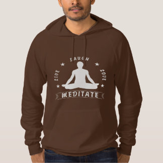 Live Laugh Love Meditate Male Text (wht) Hoodie