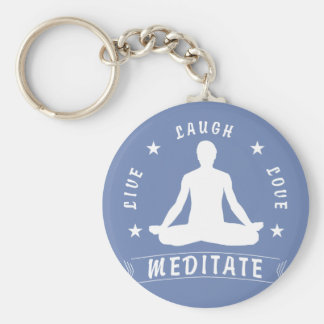 Live Laugh Love Meditate Male Text (wht) Keychain