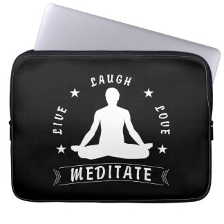 Live Laugh Love Meditate Male Text (wht) Laptop Sleeve