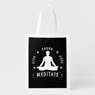 Live Laugh Love Meditate Male Text (wht) Reusable Grocery Bag