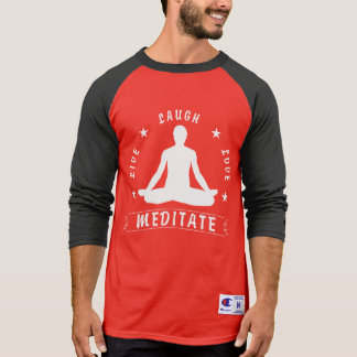 Live Laugh Love Meditate Male Text (wht) T-Shirt