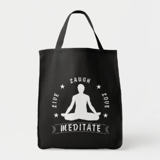 Live Laugh Love Meditate Male Text (wht) Tote Bag