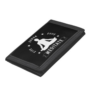 Live Laugh Love Meditate Male Text (wht) Trifold Wallet