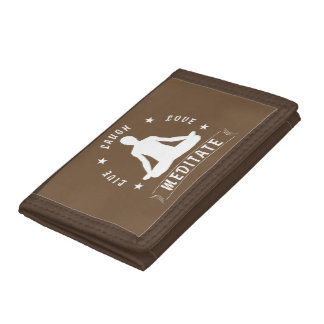Live Laugh Love Meditate Male Text (wht) Trifold Wallets