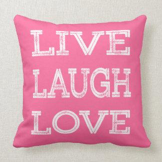 Live, Laugh, Love Motivational Quote Pink Pillow