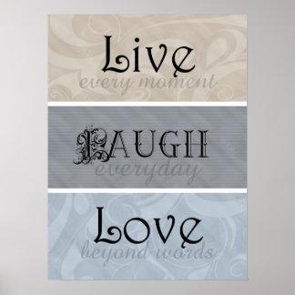 Live Laugh Love Neutrals Poster