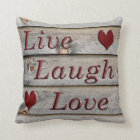 Live Laugh Love on the side of a barn Throw Pillow