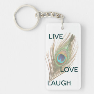 Live Laugh Love Peacock Feather Acrylic Keychain