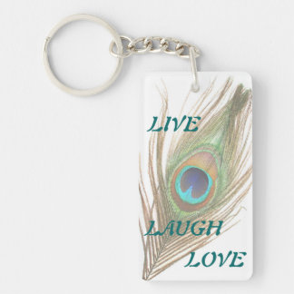 Live Laugh Love Peacock Feather Add Photo Acrylic Double-Sided Rectangular Acrylic Keychain