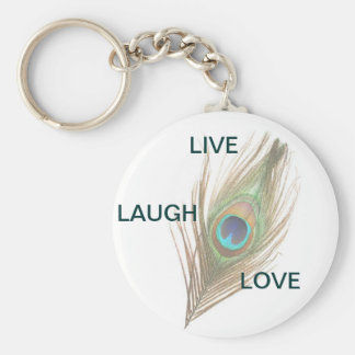 Live Laugh Love Peacock Feather Basic Keyring Keychain
