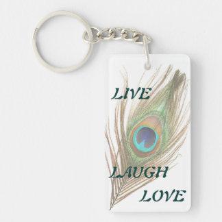 Live Laugh Love Peacock Feather Double Acrylic Key Double-Sided Rectangular Acrylic Keychain