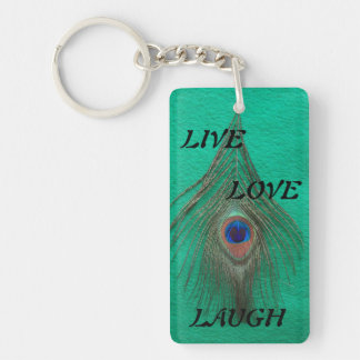 Live Laugh Love Peacock Feather on Green Acrylic K Rectangle Acrylic Keychains