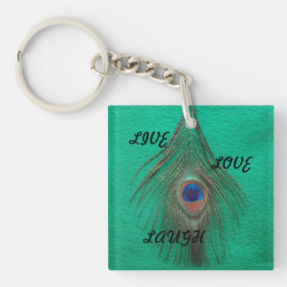 Live Laugh Love Peacock Feather on Green Acrylic K Square Acrylic Key Chain