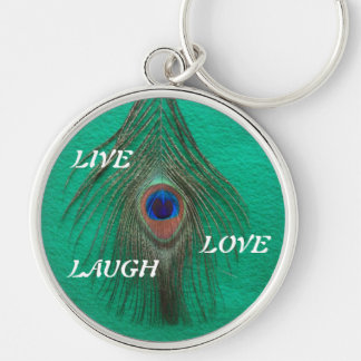 Live Laugh Love Peacock Feather on Green Large Pre Silver-Colored Round Keychain