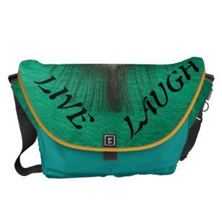 Live Laugh Love Peacock Feather on Green Courier Bags