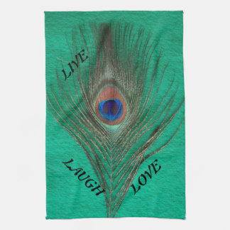 Live Laugh Love Peacock Feather on Green Towel