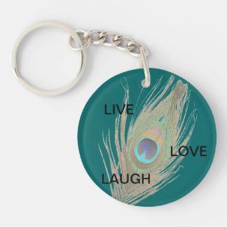 Live Laugh Love Peacock Feather on Teal Acrylic D Double-Sided Round Acrylic Keychain