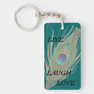 Live Laugh Love Peacock Feather on Teal Double A Double-Sided Rectangular Acrylic Keychain