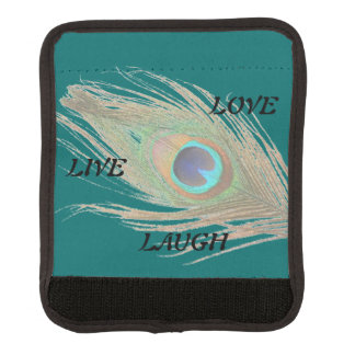 Live Laugh Love Peacock Feather on Teal Handle Wrap