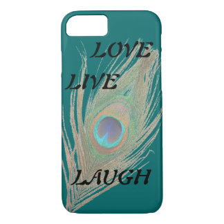 Live Laugh Love Peacock Feather on Teal iPhone 7 Case