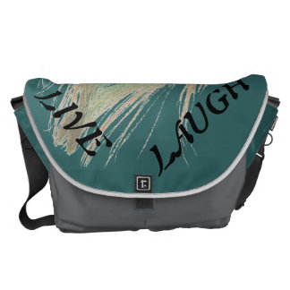 Live Laugh Love Peacock Feather on Teal Messenger Bags