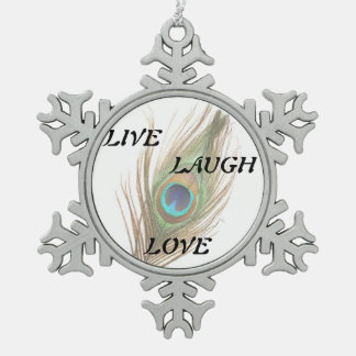 Live Laugh Love Peacock Feather Snowflake Pewter Christmas Ornament
