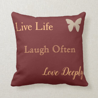 Live Laugh Love  Pillow With Butterfly