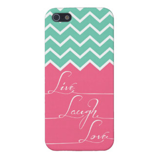 live,laugh,love/Pink and green chevron Cover For iPhone 5/5S
