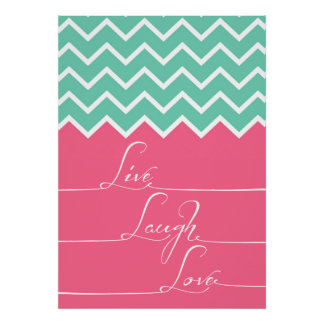 live,laugh,love/Pink and green chevron Poster