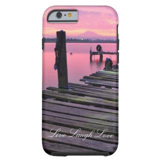 Live Laugh Love Pink Dock Ocean Sunset Phone Case