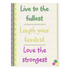 Live, Laugh, Love Postcard