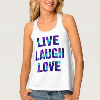 Live Laugh Love Quote Colorful Racerback Tank Top