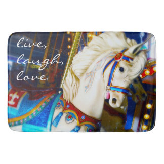 """Live Laugh Love"" Quote White Carousel Horse Photo Bath Mat"