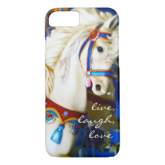 """""""Live Laugh Love"""" Quote White Carousel Horse Photo Case-Mate iPhone Case"""