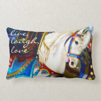 """Live Laugh Love"" Quote White Carousel Horse Photo Lumbar Pillow"