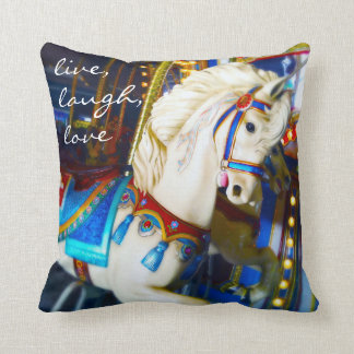 """""""Live Laugh Love"""" Quote White Carousel Horse Photo Throw Pillow"""