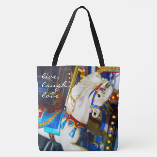 """Live laugh love"" quote white carousel horse photo Tote Bag"