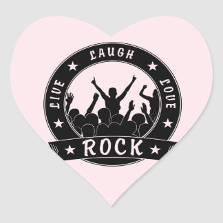 Live Laugh Love ROCK (blk) Heart Sticker