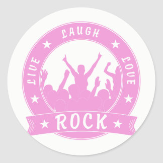 Live Laugh Love ROCK (pink) Classic Round Sticker