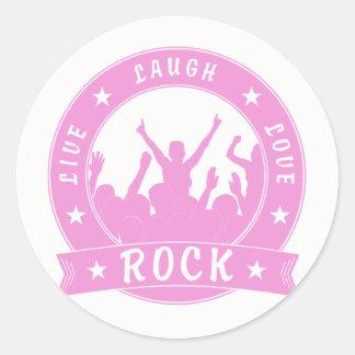 Live Laugh Love ROCK (pink) Round Sticker
