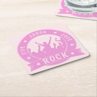 Live Laugh Love ROCK (pink) Square Paper Coaster