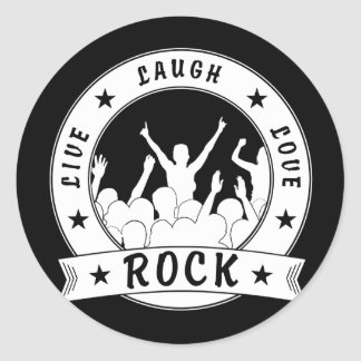 Live Laugh Love ROCK (wht) Classic Round Sticker